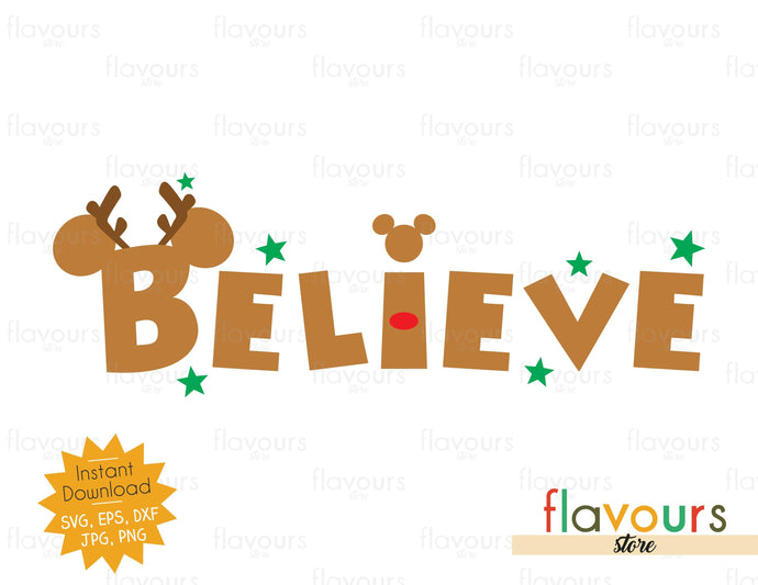 Believe - Reindeer Ears - SVG Cut File