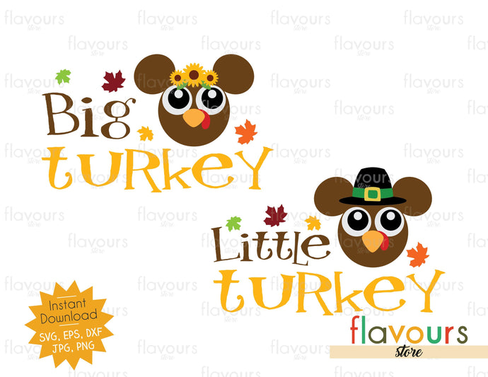Big Turkey - Little Turkey - Thanksgiving - SVG Cut File