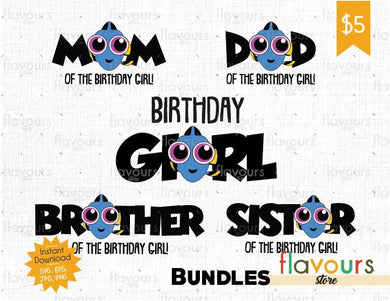 Dory Birthday Girl Bundle - Instant Download - SVG Cut File