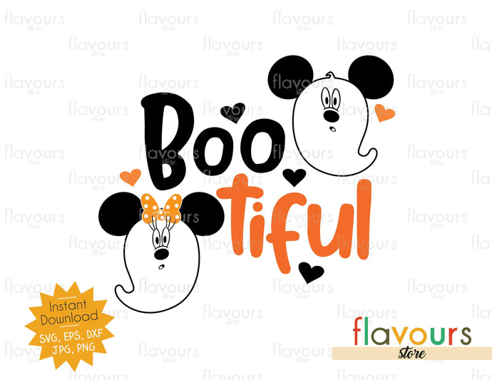 Boo-tiful - Mickey Minnie Ghost - Halloween - SVG Cut File