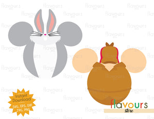 Bugs Bunny and Elmer Fudd Ears - Instant Download - SVG Cut File