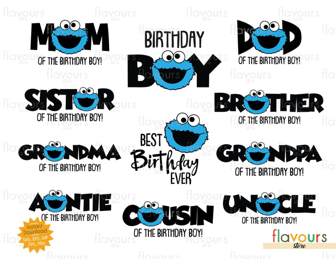 Cookie Monsters Birthday Boy Bundle - Instant Download - SVG Cut File