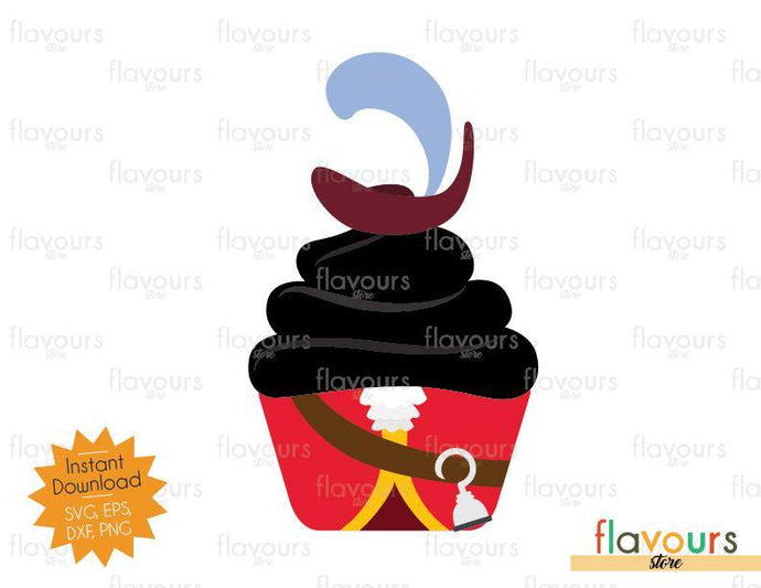 Captain Hook Cupcake - Peter Pan - SVG Cut File - FlavoursStore