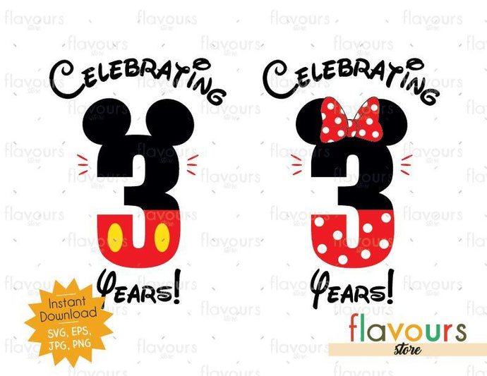 Celebrating 3 Years Mickey And Minnie Ears - SVG Cut Files