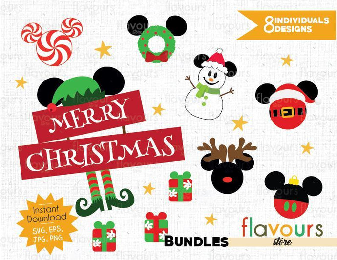 Mickey Christmas Bundle - Instant Download - SVG Cut File