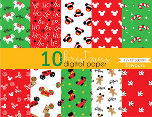 Christmas Mickey Mouse Digital Paper - Instant Download