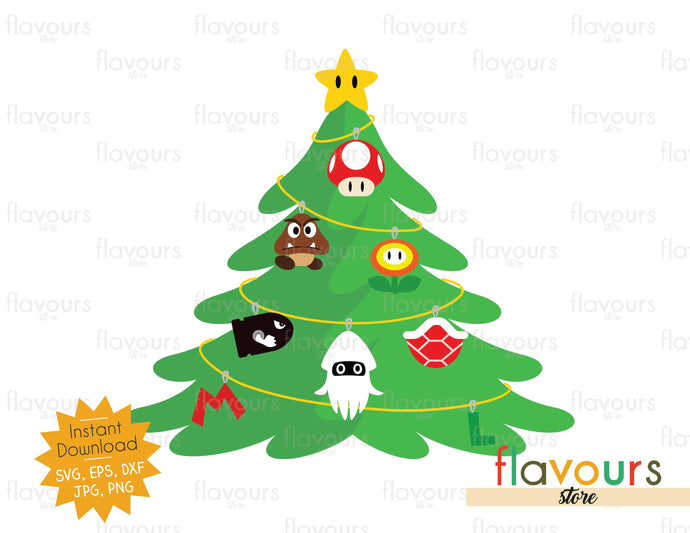 Christmas Tree Mario Bros Ornaments Svg Cut File Flavoursstore