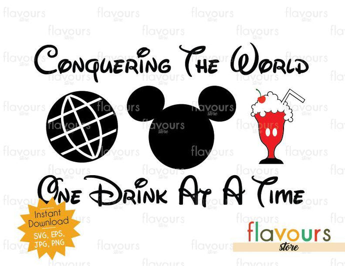 Conquering the World - One Drink At a Time - Mickey Milkshake - Disney Epcot - SVG Cut File