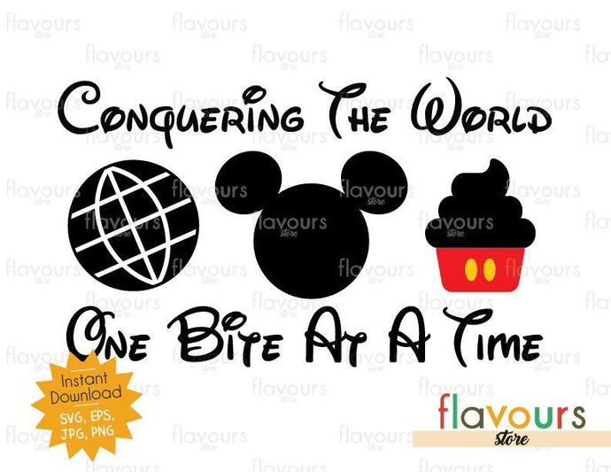 Conquering The World One Bite At A Time Mickey Cupcake - Disney Epcot - SVG Cut File