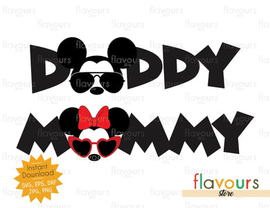 Daddy Mommy - Mickey And Minnie Sunglasses - SVG Cut File
