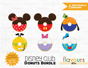 Disney Club Donuts Bundle - Instant Download - SVG Cut File