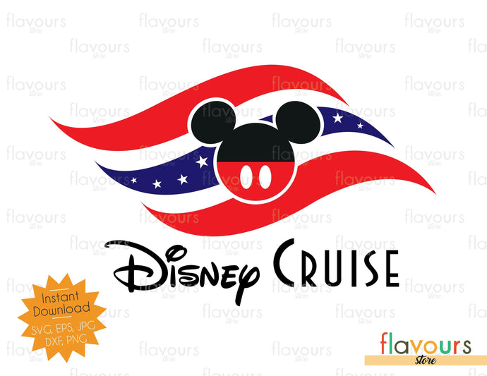 Disney Cruise 4th Of July Flag - Instant Download - SVG Cut Files