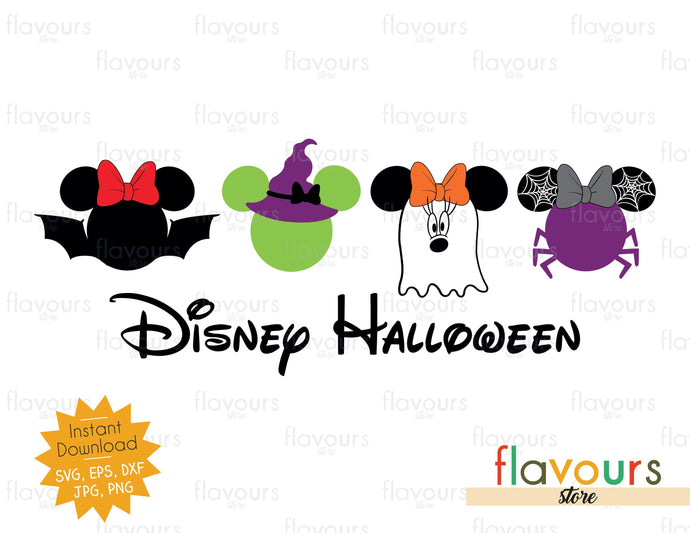 Disney Halloween Minnie Bat Witch Spider Ghost - SVG Cut Files - FlavoursStore