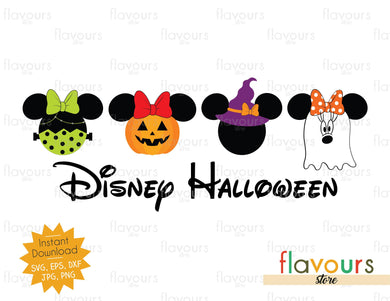 Disney Halloween Minnie Frankenstein Pumpkin Witch Ghost  - SVG Cut File