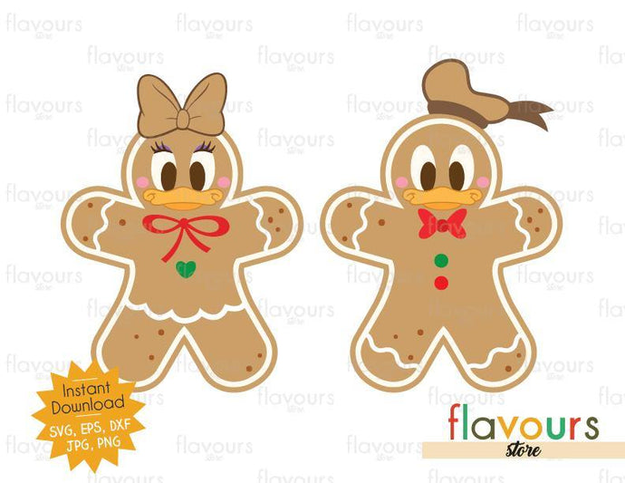 Donald and Daisy Christmas Cookies - SVG Cut File