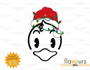 Donald Christmas Hat And Lights - SVG Cut File