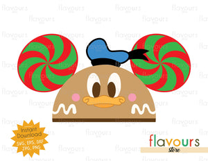Donald Gingerbread Hat Ears - Disney Christmas - Cuttable Design Files