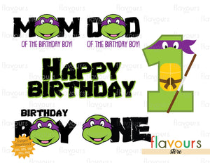 Donatello Ninja Turtles 1st Birthday Bundle - Cars - SVG Cut File