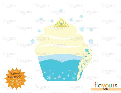 Elsa Cupcake - Frozen - SVG Cut File