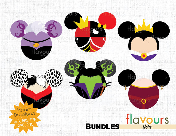 Female Villains Ears Bundle - Cuttable Design Files