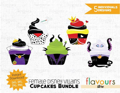 Female Villains Cupcakes Bundle - Cuttable Design Files (SVG, EPS, JPG, PNG) For Silhouette and Cricut
