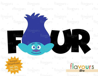 Four - Branch - Trolls - Instant Download - SVG FILES