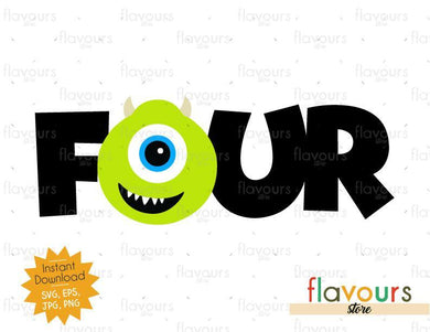 Four - Mike Monsters Inc - Instant Download - SVG FILES