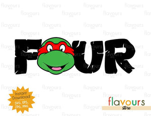 Four - Raphael - Ninja Turtles - Instant Download - SVG FILES