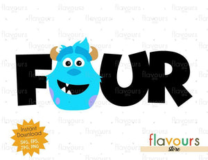 Four - Sulley Monsters Inc - Instant Download - SVG FILES