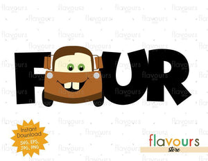 Four - Tow Mater - Cars - Instant Download - SVG FILES