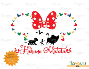 Hakuna Matata Minnie Christmas Heads Outline - Disney Christmas - SVG Cut File