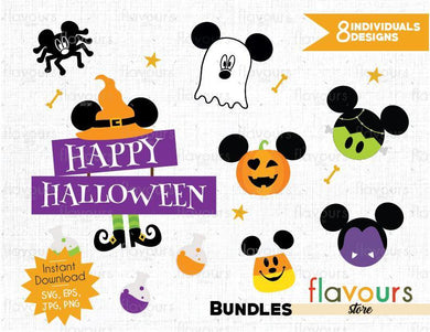Mickey Halloween Bundle - Instant Download - SVG Cut File