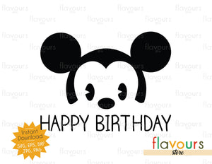 Happy Birthday - Baby Mickey - SVG Cut File