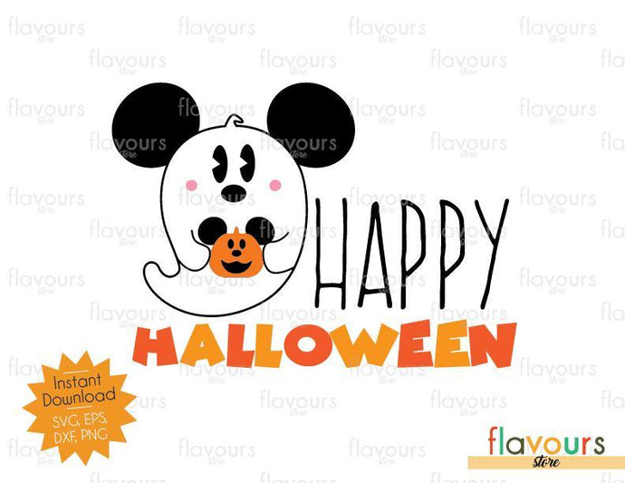 Happy Halloween Mickey Ghost - SVG Cut File