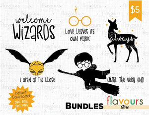 Harry Potter Bundle - Cuttable Design Files (SVG, EPS, JPG, PNG) For Silhouette and Cricut