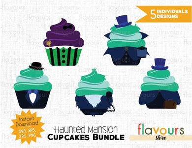 Haunted Mansion Cupcakes Bundle - 5 Designs - SVG Cut Files