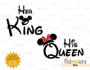 Her King - His Queen - Mouse Ears - Instant Download - SVG Cut File