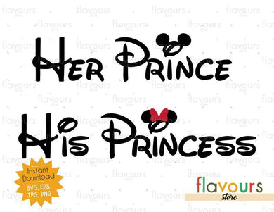 Her Prince - His Princess - Mouse Ears - Instant Download - SVG Cut File