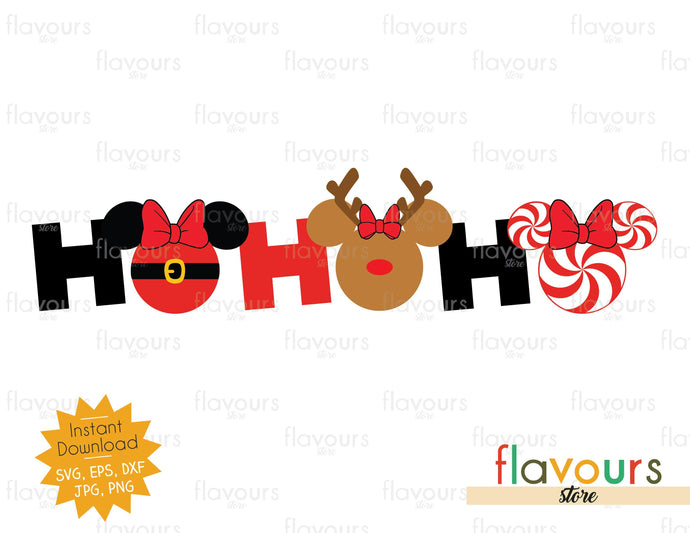 Ho Ho Ho - Minnie Ears - SVG Cut File