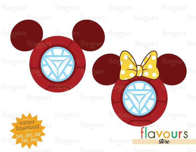 Iron Man Mickey and Minnie Ears - SVG Cut File - FlavoursStore