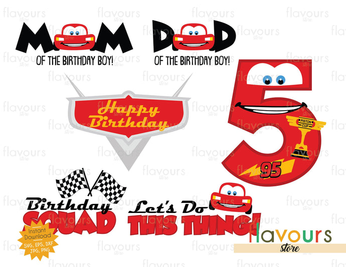 Lightning Mcqueen 5 Birthday Bundle - Cars - SVG Cut File