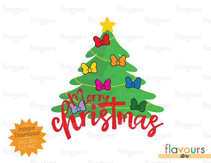Merry Christmas Minnie Bows Tree - SVG Cut File