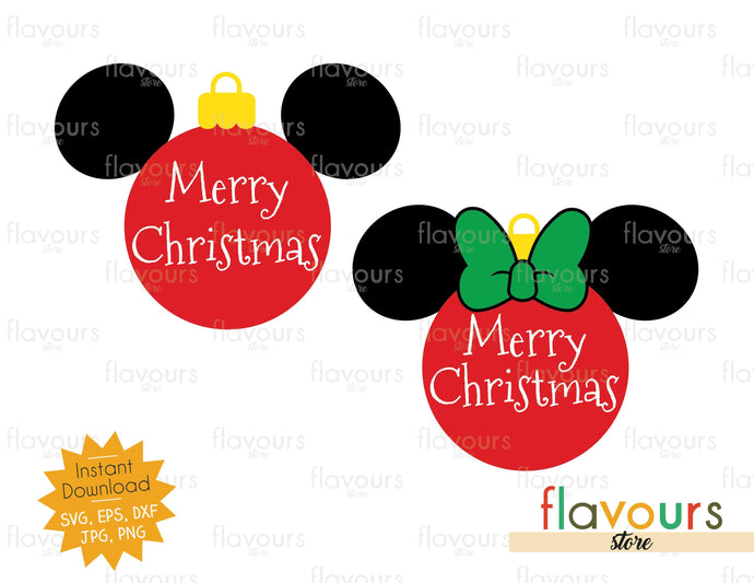 Merry Christmas - Mickey Minnie Christmas Ball - Cuttable Design Files