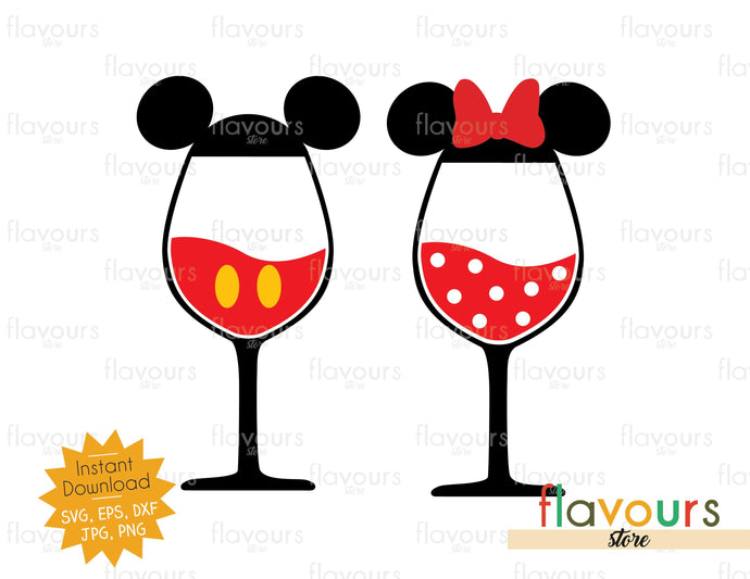 Mickey and Minnie Wine Glasses- SVG Cut File