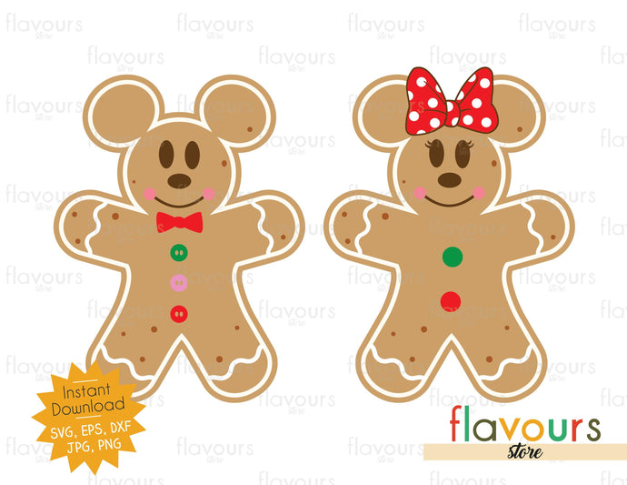Mickey and Minnie Christmas Cookies - SVG Cut File