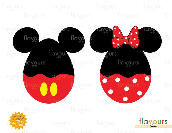 Mickey and Minnie Easter Egg - SVG Cut File