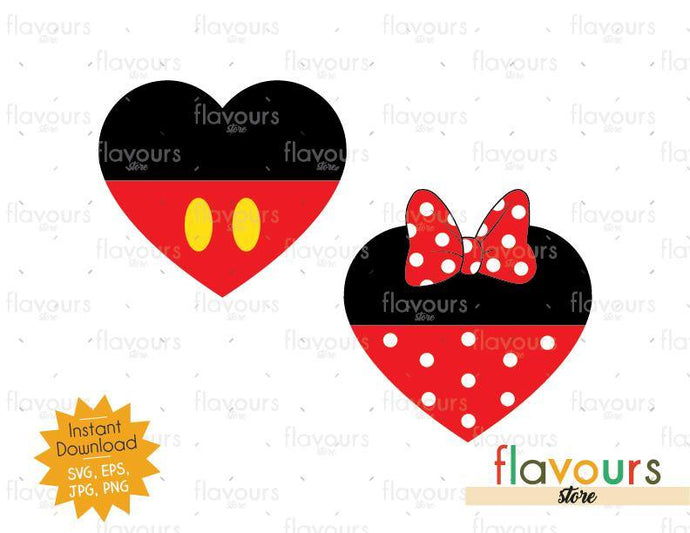 Hearts Mickey and Minnie Inspired - Instant Download - SVG Cut File