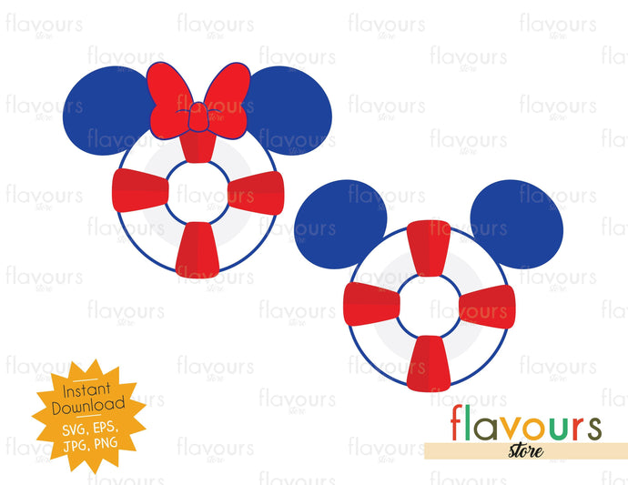 Mickey and Minnie Lifesaver Ears - Disney Cruise - Cuttable Design Files