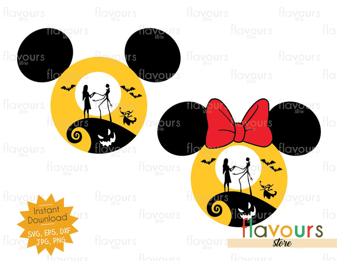 Mickey and Minnie Nightmare Before Christmas - SVG Cut File