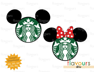 Mickey and Minnie Starbucks - Instant Download - SVG Cut File